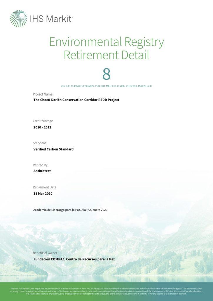 Certificado Bonos de Carbono AlaPAZ 2020-I
