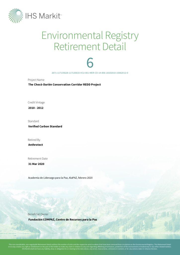 Certificado Bonos de Carbono AlaPAZ 2020-II
